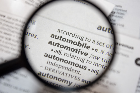 The word of phrase automobile in a dictionary. Stock Photo