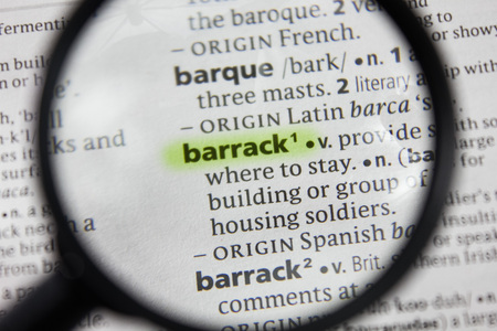 The word or phrase barrack in a dictionary.