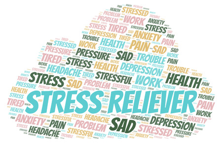Stress Reliever word cloud. Wordcloud made with text only.