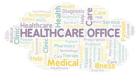 Healthcare Office word cloud. Wordcloud made with text only.