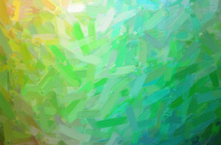 Abstract illustration of green, yellow Oil Paint with big brush background.