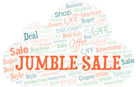 Jumble Sale Word Cloud. Wordcloud Made With Text. Vectores