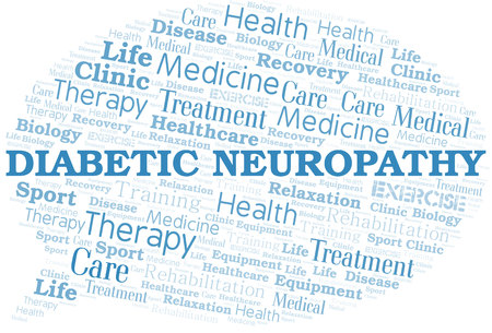Diabetic Neuropathy word cloud. Wordcloud made with text only. Illustration