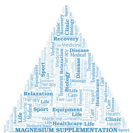 Magnesium Supplementation word cloud. Wordcloud made with text only. Ilustracja