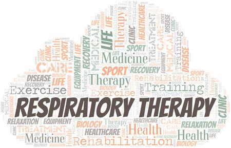 Nuage de mot thérapie respiratoire. Wordcloud fait avec du texte uniquement.