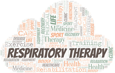 Respiratory Therapy word cloud. Wordcloud made with text only. Stock Illustratie
