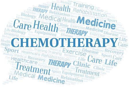 Nube de word de quimioterapia. Wordcloud hecho solo con texto. Ilustración de vector