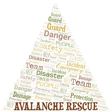 Avalanche Rescue Word Cloud. Wordcloud Made With Text. Illustration