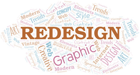 Redesign word cloud. Wordcloud made with text only. Illustration