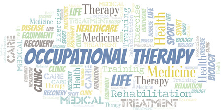 Occupational Therapy word cloud. Wordcloud made with text only. Foto de archivo - 124167598