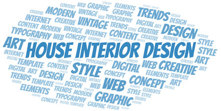 House Interior Design word cloud. Wordcloud made with text only. Ilustração