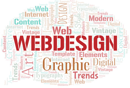 Webdesign word cloud. Wordcloud made with text only.