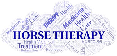 Nube de word de terapia de caballos. Wordcloud hecho solo con texto.