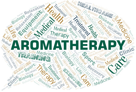 Aromatherapy word cloud. Wordcloud made with text only. Illustration
