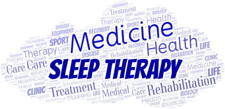 Sleep Therapy word cloud. Wordcloud made with text only. Illustration