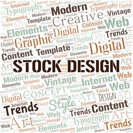 Stock Design word cloud. Wordcloud made with text only.