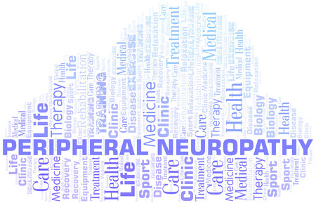 Peripheral Neuropathy word cloud. Wordcloud made with text only. Illustration