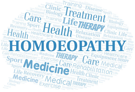 Homoeopathy word cloud. Wordcloud made with text only. Illustration