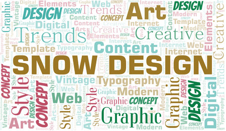 Snow Design word cloud. Wordcloud made with text only.