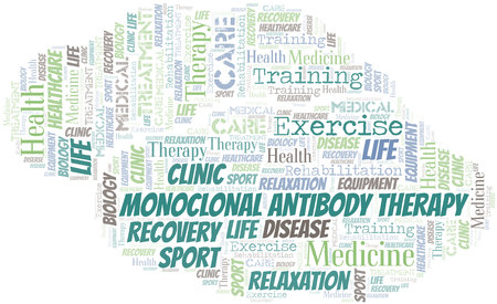 Monoclonal Antibody Therapy word cloud. Wordcloud made with text only. Illustration
