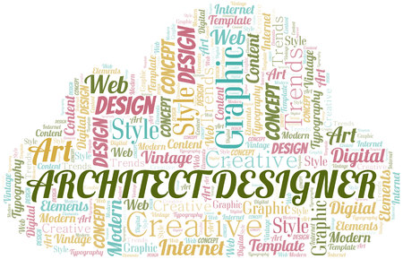 Architect Designer word cloud. Wordcloud made with text only.