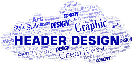 Header Design word cloud. Wordcloud made with text only. Illustration