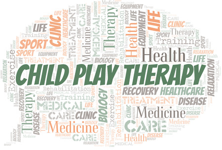 Child Play Therapy word cloud. Wordcloud made with text only.