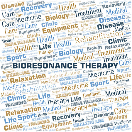 Bioresonance Therapy word cloud. Wordcloud made with text only. Stock Illustratie