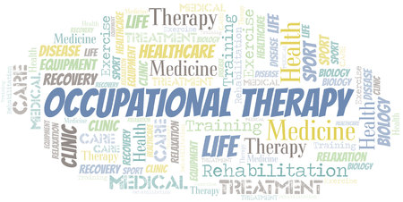 Occupational Therapy word cloud. Wordcloud made with text only.