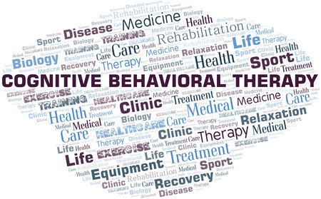 Cognitive Behavioral Therapy word cloud. Wordcloud made with text only.