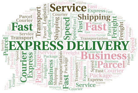 Express Delivery word cloud. Wordcloud made with text only.