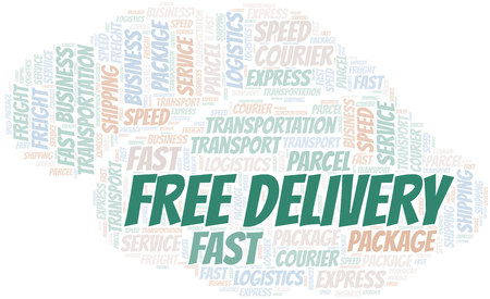Free Delivery word cloud. Wordcloud made with text only.