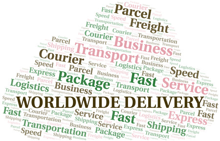 Worldwide Delivery word cloud. Wordcloud made with text only.