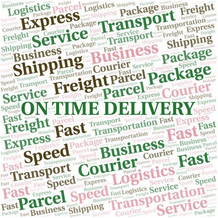 On Time Delivery word cloud. Wordcloud made with text only. Ilustrace