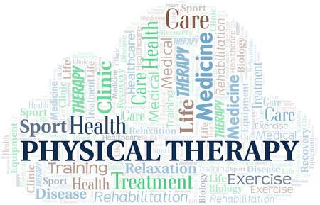 Physical Therapy word cloud. Wordcloud made with text only.