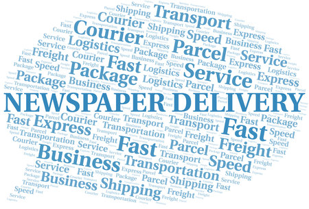 Newspaper Delivery word cloud. Wordcloud made with text only.