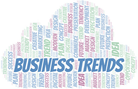 Business Trends word cloud. Wordcloud made with text only. Çizim