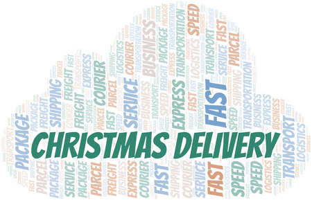 Christmas Delivery word cloud. Wordcloud made with text only.