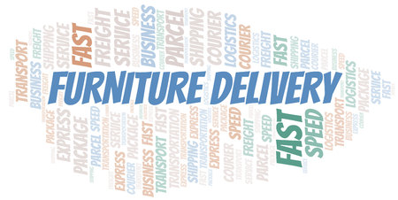 Furniture Delivery word cloud. Wordcloud made with text only.