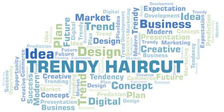 Nuage de mot coupe de cheveux tendance. Wordcloud fait avec du texte uniquement.