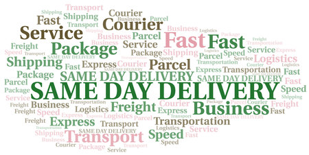 Same Day Delivery word cloud. Wordcloud made with text only. Ilustrace
