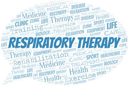 Respiratory Therapy word cloud. Wordcloud made with text only. Ilustração