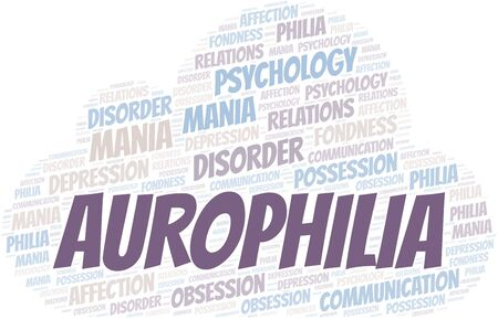 Aurophilia word cloud. Type of Philia.
