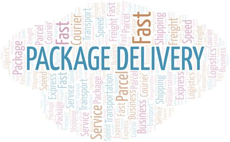 Package Delivery word cloud. Wordcloud made with text only.