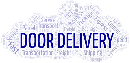 Door Delivery word cloud. Wordcloud made with text only. Ilustrace