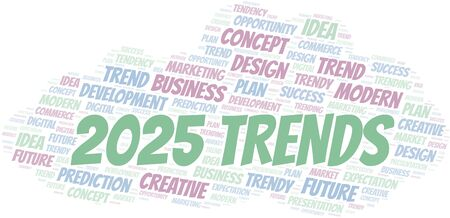 2025 Trends word cloud. Wordcloud made with text only.