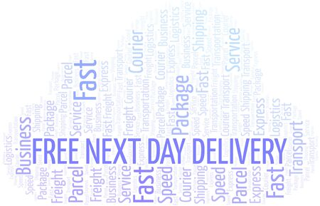 Free Next Day Delivery word cloud. Wordcloud made with text only.