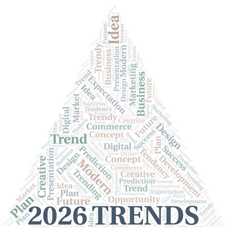 2026 Trends word cloud. Wordcloud made with text only. Çizim