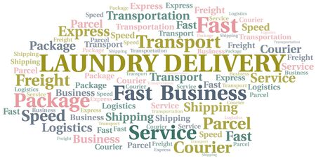 Laundry Delivery word cloud. Wordcloud made with text only. Ilustrace