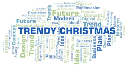 Trendy Christmas word cloud. Wordcloud made with text only.
